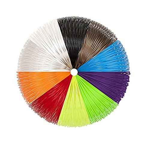 3D Pen Filament 1.75mm PLA Filament Refills Pack 10 Colors 5m Each - 16 Linear Feet