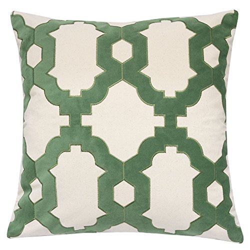 - Homey Cozy Applique Green Cotton Canvas Throw Pillow Cover,Spring Green Series Geometric Chain Modern Western Decorative Sofa Couch Pillow Case 20x20,Cover Only