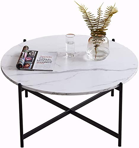 """HOMMOO Modern Industrial 36"""" Round Coffee Accent Table"""