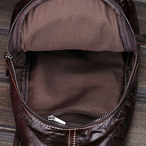 Zhhlinyuan Accesorio para hombre Mens Waterproof Brown Satchel First Layer Of Cowhide Leather Shoulder Chest Bag Multi-pockets Dark blown