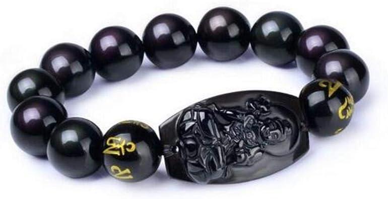YYBF Negro obsidiana Tallada Buda Amuleto de la Suerte
