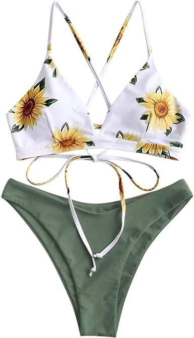 Lavany Womens Two Pieces Lace Up Bandage Bikini Set Padded Bra Mesh High Cut Bottom