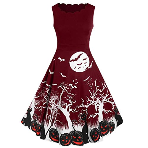 FEDULK Women's Vintage 1950's Halloween Costume Bat Pumpkin Rockabilly Swing Prom Party Cocktail Dress(Wine, ()