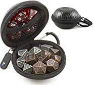 CASEMATIX Ultra-Compact Travel Dice Case and Dice Holder for up to 21 RPG Dice with Non-Scratch Interior and M