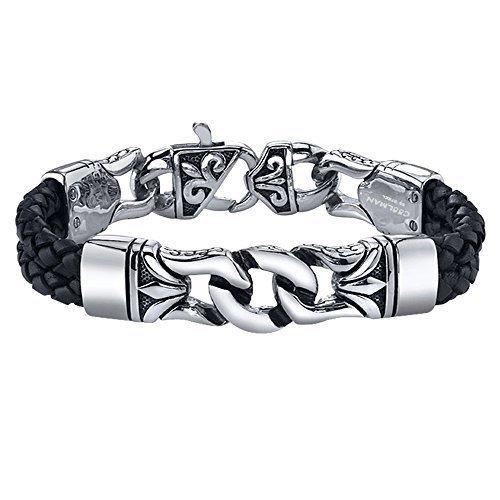 Coolman Black Stainless Steel Braided Leather Bracelet Cross Bracelets 8.8 Inch for Men Women