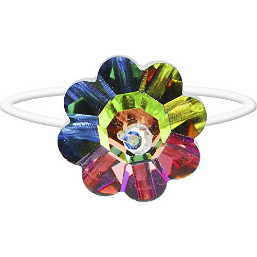 Body Candy Sassy Spectrum Flower Illusion Stretch Toe Ring Created with Swarovski Crystals