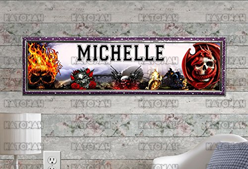 (Customized Name Painting Skulls Poster With Your Name On It Personalized Banner With Hard Frame)