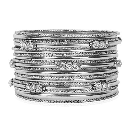 (RIAH FASHION Bohemian Stackable Multi Layer Bracelet - Gypsy Statement Infinity Wrist Bangle Set Metallic/Leopard Animal/Rose Gold Silver Turquoise (Vintage Multi Bangle - Silver))