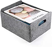 Welaxy Storage Baskets Felt Foldable Storage Cube bin Shelf Bins Organizer Felt Box for for Kids Toys Magazine