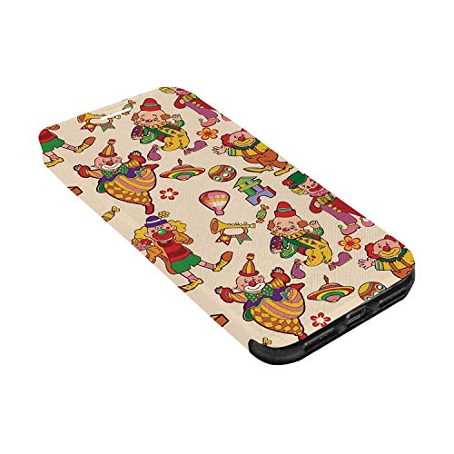 Circus Decor Leather Phone Case,Cartoon Circus Patterns Comedian Musical Toy Pleasure Hot Air Balloon Compatible with iPhone X, iPhone X