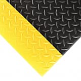 NoTrax 419 Diamond Sof-Tred Safety/Anti-Fatigue Mat with Dyna-Shield PVC Sponge, for Dry Areas, 2' Width x 6' Length x 1/2'' Thickness, Black/Yellow