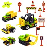 UGGL Construction Toys Sets, 5 Pieces Mini Construction Vehicles Toy Sets, Truck Cars Model Toy Sets, Includig Dump Truck, Bulldozer, Excavator, Forklift, Road Roller Cars for Childrens Kids Boys