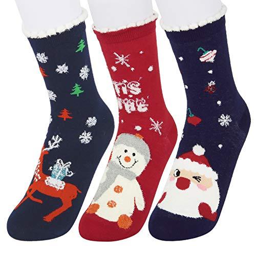 Girls Women 3D Cute Cartoon Christmas Adorable Novelty Funny Cotton Crew Socks 3 pack, Snowman Santa Rudolf -