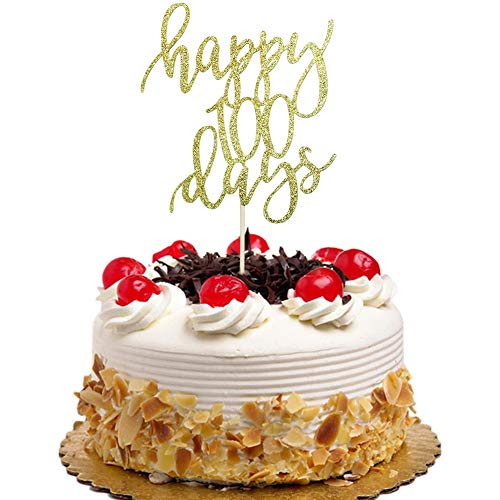 Happy 100 Days Cake Topper for Kids Birthday, Baby Shower, Wedding Party Decorations Gold Glitter ()