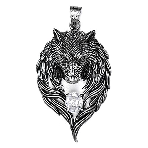 Mens Wolf Necklace Stainless Steel Norse Viking Wolf Necklace Pendant by LaurieCinya 24 Inches Chain
