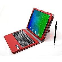 Samsung Galaxy Tab S2 9.7 Keyboard case, KuGi ® High quality Ultra-thin Detachable Bluetooth Keyboard Stand Portfolio Case / Cover+ Free stylus & OTG cable for Samsung Galaxy Tab S2 9.7 tablet. (Red)