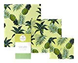 Vegan Reusable Wax Food wrap - NO Beeswax - Cling Film Alternative - Waxed Paper for Food - The Perfect eco Friendly Gift - Organic Cotton - Set of 3 - Pineapple Print - Sustainable - Zero Waste