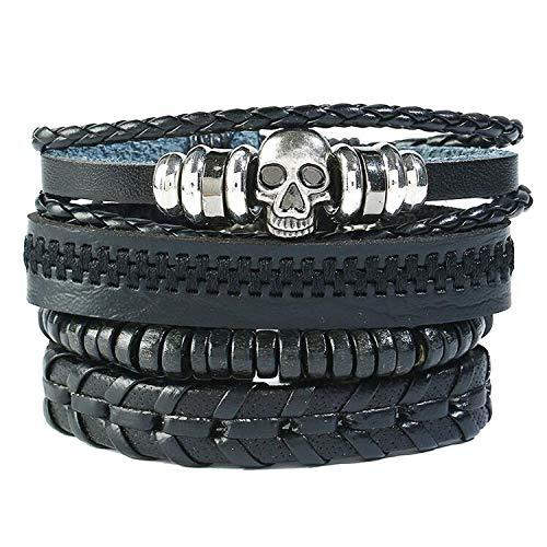 Pirate Sayings Bracelet - Rock Skull Charm Bracelet Set Vintage Retro Pirate Skeleton Jewelry Beads Braided Rope Leather Bangle Wrap Men Women,Black4