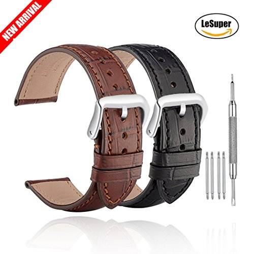 Lesuper Genuine Leather Watch Bands Top Calf Grain Leather Watch Strap Silver Pin Buckle Bonus 4 Pairs of Raw Ears and Tool (Brown, 20mm)