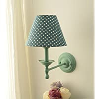 MBLYW LED Lámpara de pared Sala de estar dormitorio cabecera lámpara de pared decorativa lámpara de pared lámpara de pared de pasillo pastoral, cuerpo de lámpara verde + pantalla de punto azul lago