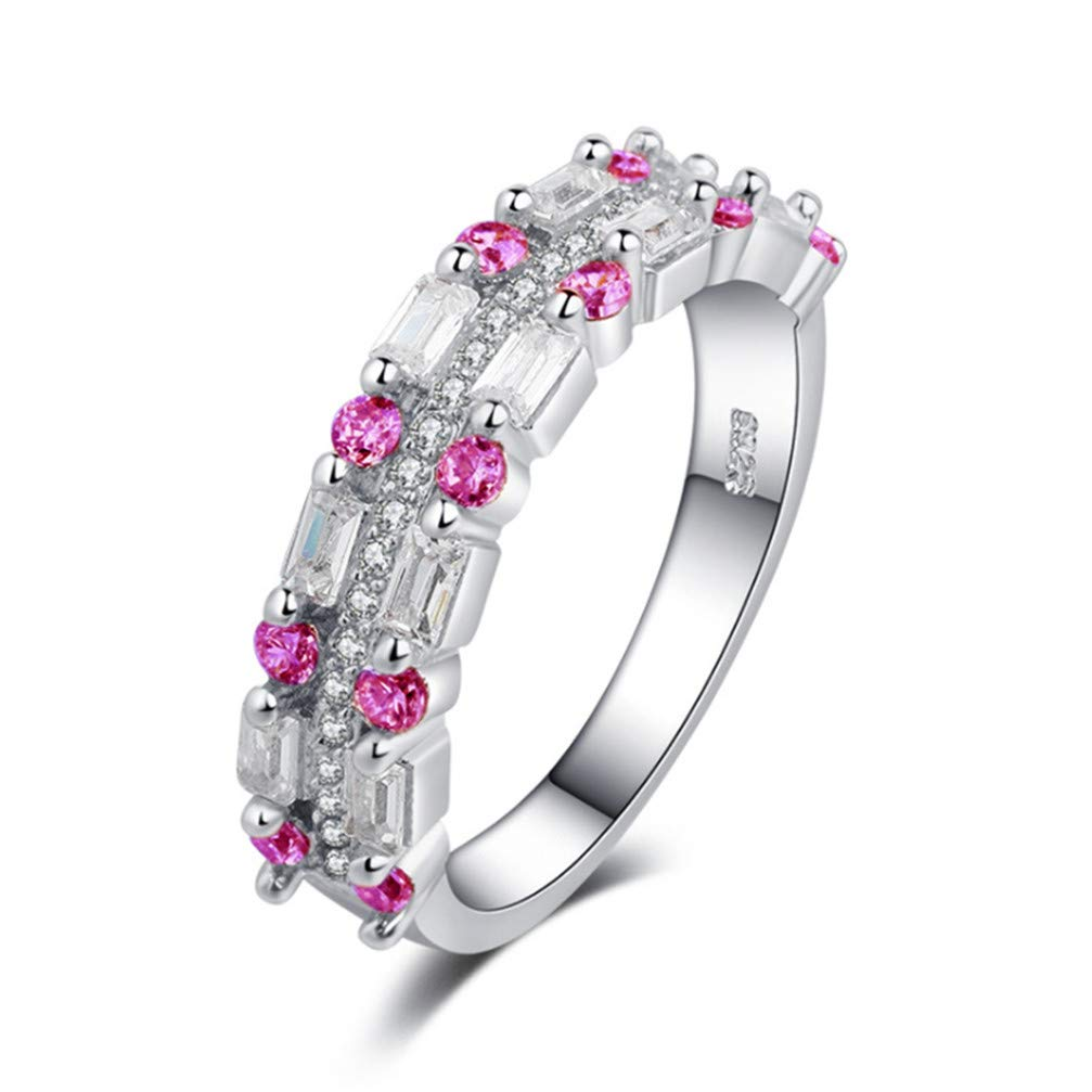Myhouse Multilayers Rhinestone Alloy Ring Wedding Birthstone Bride Engagemen Ring for Women(Pink, 7)