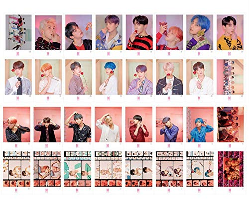 - 32Pcs BTS Map of The Soul Persona Postcard Lomo Card Set with 10 Photo Clips 4 Meter String 1 3D Sticker
