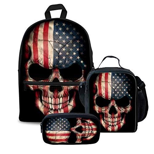 (FOR U DESIGNS US Skull Teens Boys Backpack Set Canvas Girls School Bags Bookbags 3 in 1)