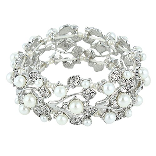 EVER FAITH Silver-Tone Crystal Cream Simulated Pearl 1920's Style Leaf Stretch Bracelet Clear ()