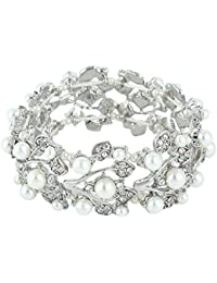 Crystal Cream Simulated Pearl 1920's Style Leaf Stretch Bracelet Clear