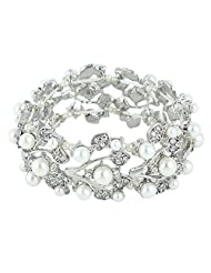 Ever Faith Crystal Cream Simulated Pearl 1920's Style Leaf Stretch Bracelet