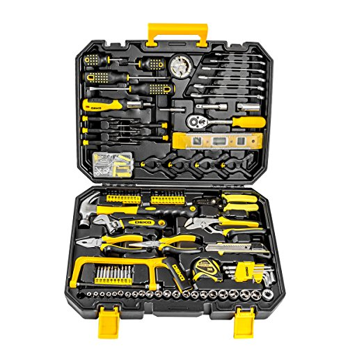 168pcs Socket Wrench Auto Repair Tool Combination Package Mixed Tool Set Hand Tool Kit with Plastic Toolbox Storage Case (Hand Tools)