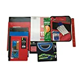 School Supplies Bundle- Five Star Pencil Pouch, Five Star Folders, Wide Ruled Composition Book/Spiral Note Book/Loose Leaf Paper, Mechanical Pencils, Pens, Ruler, Compass & Protractor and More