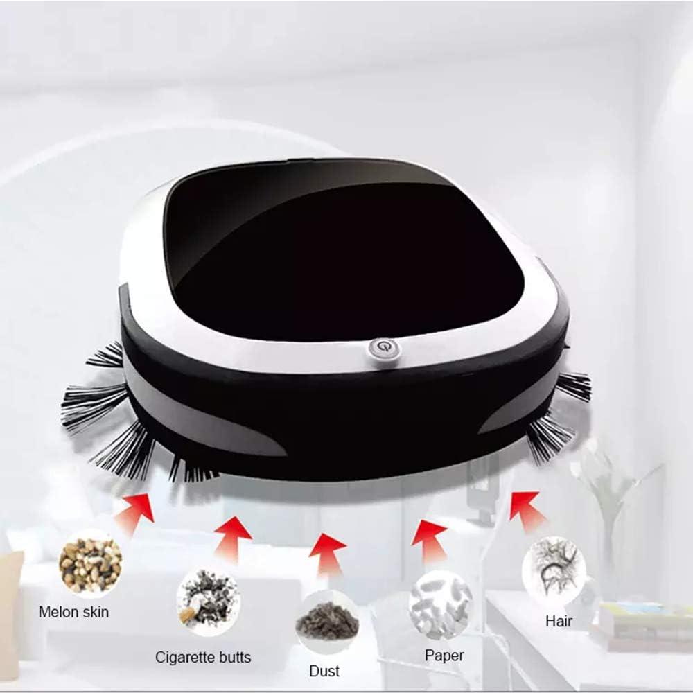 Aspirateur Robot 1800Pa Aspiration Forte 6 Modes de Nettoyage aspirateur et vadrouille Anti Chute pour poussière/Animal/Sol Dur/Tapis,Noir Black