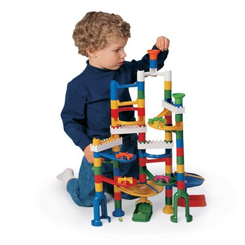 Constructive Playthings KFV-2 CP Toys 120 Pc. Build and Play Marble Run with Accessory Set