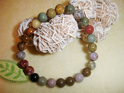 Beautiful Ocean Jasper Pendant - Ocean Jasper 8mm Natural Beads Yoga Prayer Bracelet Chakra Balance Meditation