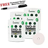 Smartbuy 400-disc 4.7GB/120min 16x DVD-R White Inkjet Hub Printable Blank Media Disc + Black Permanent Marker