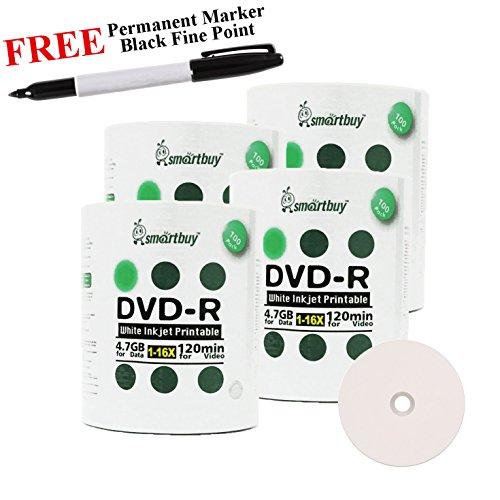 Smartbuy 400-disc 4.7GB/120min 16x DVD-R White Inkjet Hub Printable Blank Media Disc + Black Permanent Marker by Smartbuy