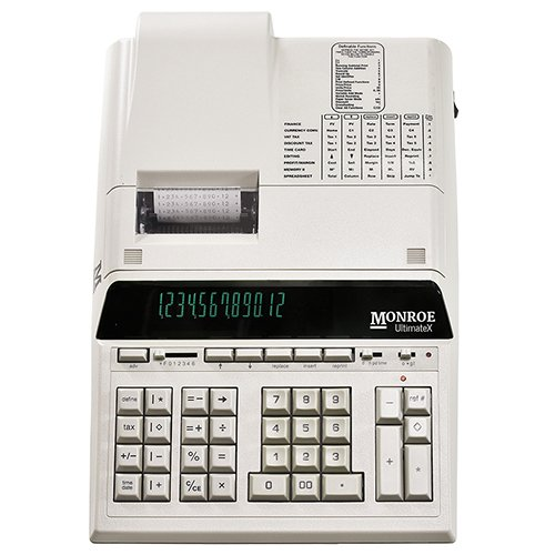 12-Digit Print/Display Genuine Monroe UltimateX Ivory, Our Top-Of-The-Line Heavy-Duty Calculator by Monroe Systems for Business