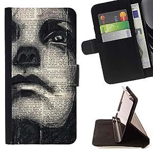 Momo Phone Case / Flip Funda de Cuero Case Cover - Art Drawing Woman Face - Sony Xperia Z3 D6603