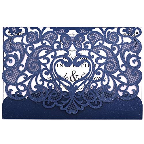 Wedding Invitation Card 50 pack, FOMTOR Laser cut Wedding Invitations Kit With Blank Printable Paper and Envelopes Navy Blue