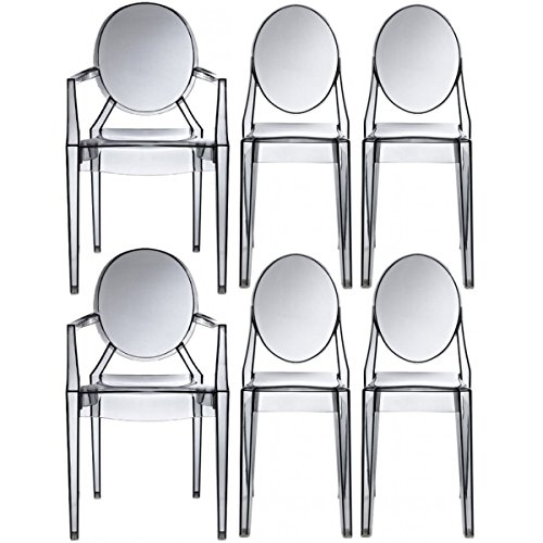 Louis Philippe Dining Room - 2xhome - Set of Six (6) - Clear - Modern Designer Ghost Style Chairs - Two (2) Louis Ghost Armchairs W/arm - And Four (4) Armless Victoria Ghost Side Chairs (Smoke)