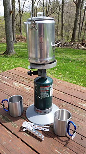 EXCURSIONS Journey To Health Camping Coffee Pot with 2 Carabiner Mugs and Hot Handle Pot Holder