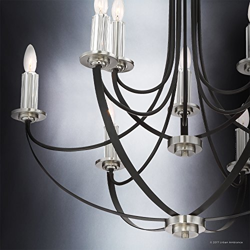 Luxury Mid-Century Modern Chandelier, Large Size: 31.5''H x 32''W, with Colonial Style Elements, Silver Trimmed Design, High-End Black Silk Finish and Exposed Bulbs, UQL2012 by Urban Ambiance by Urban Ambiance (Image #3)