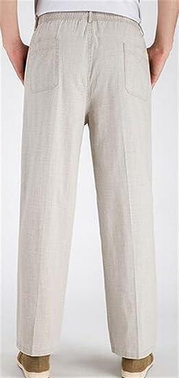 b72487ec3fd Lutratocro Men s Linen Straight Leg Cozy Elastic Waist Loose Fit Pure  Colour Pants at Amazon Men s Clothing store