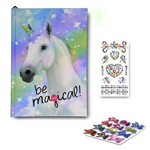 Diary for Girls - Journal Gifts Set for Kids 5 Years and Over - Light-Up Unicorn Notebook with Blank Lined Pages for Her Secrets with 2 Sheets of Stickers