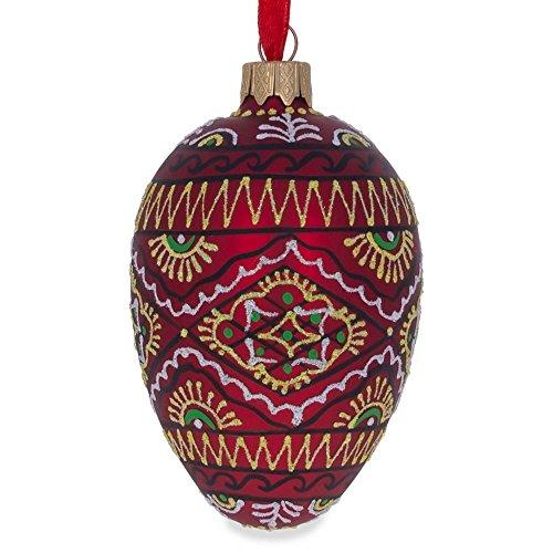 BestPysanky Red Geometric Ukrainian Egg Glass Christmas Ornament
