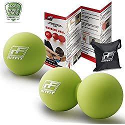 RitFit Peanut Massage Lacrosse Ball for Myofascial Release, Trigger Point Therapy, Muscle Knots, and Yoga Therapy. Bonus Single Massage Ball (Green/Green)