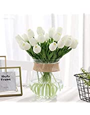 DecoForU 15 Pcs Artificial Flowers Tulips Real Touch Fake Flowers Tulips Flowers Arrangement Bouquet for Home Room Office Wedding Party Decoration(WH)