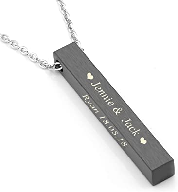 Custom Necklace chain 18 inch Charm Jewelry Gift for Women and Men Personalized Bar Necklace
