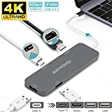 USB C Hub, ANYOYO 4 in 1 Aluminum Type C Adapter 3.1 with 4K HDMI,2 USB 3.0 Ports, Quick Charge Charging Port, Portable Accessories for MacBook Pro 2018/2017, Projector and More USB-C Devices